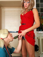 Sizzling hot sissy maid doing his best mounting a babe's king-size strap-on